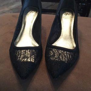 Adrianna Papell black lace kitten heels
